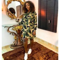 Camouflage Print Long Sleeve Shirt Dress ASL-6288