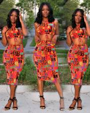 Colorful Letter Print Sleeveless Midi Skirt 2 Piece Sets MYF-2303