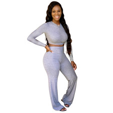 Solid Long Sleeve High Waist Two Piece Pants Set YWF-1821