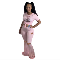 Plus Size Letter T Shirt Hole Flared Pants Two Piece Suits YWF-1823