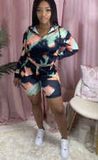 Casual Printed Hooded Long Sleeve 2 Piece Shorts Set JH-179