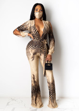 Sexy Deep V Long Sleeve Wide Leg Jumpsuits With Mask YM-9230