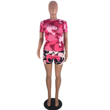 Casual Printed Short Sleeve 2 Piece Shorts Set YWF-1815