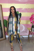 Plaid Print Loose Tops And Pants Two Piece Suits LUO-3096
