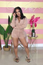Plus Size Hooded Zipper One Piece Rompers YM-9227