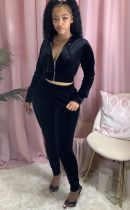 Casual Velvet Hooded Zipper Two Piece Pants Suits FNN-8520