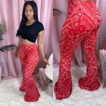 Red Printed Sexy Skinny Long Flared Pants HTF-6031