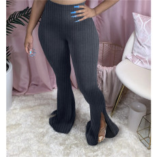 Plus Size Solid Ribbed Sexy Long Split Flare Pants ASL-6293