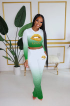 Plus Size 4XL Fashion Sexy Gradient Long Sleeve T-shirt Stacked Pants Suit HGL-1398