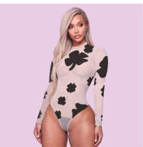 Plus Size Sexy Print Long Sleeve Bodysuit GLF-8001