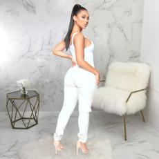 White Denim Ripped Hole High Waist Long Jeans HSF-2316