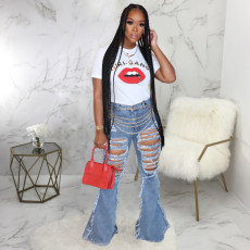 Denim Ripped Hole Long Flared Jeans Pants HSF-2312