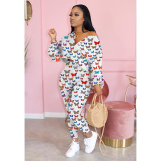 Butterfly Print Long Sleeve Two Piece Pants Set WSM-5180