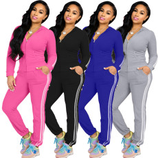 Casual Hooded Zipper Long Sleeve 2 Piece Pants Suit XMY-9256