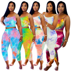 Tie Dye Cami Tops And Pants Two Piece Suits WZ-8309