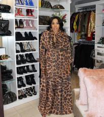 Leopard Print Big Swing Long Sleeve Maxi Dress WAF-7035