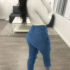 Denim Ripped Hole Long Jeans Pencil Pants OFN-307
