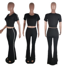 Black Casual T Shirt Flared Pants Two Piece Sets BLI-2116