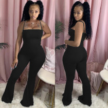 Plus Size Solid Color Simple Sexy Sling Slim Flared Jumpsuit NM-8308