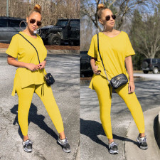 Fashion Casual Solid Color T-shirt Pants Two Piece Set ML-7359