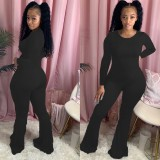Plus Size 4XL Solid Long Sleeve Flared Jumpsuit WUM-872