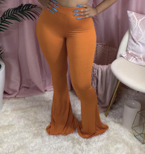 Plus Size Solid Casual Skinny Long Flared Pants OSM-5012