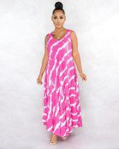 Plus Size Printed Sleeveless Long Dress CQ-051