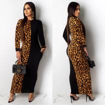 Leopard Patchwork Long Sleeve Maxi Dress ML-7357