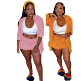 Plus Size Solid Plush Hooded Coat+Shorts 2 Piece Sets DAI-8267