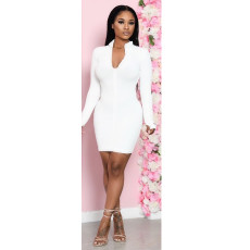 Sexy Long Sleeve Solid Bodycon Dress CHY-1249