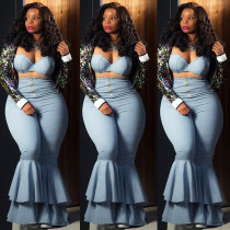 Plus Size Sexy Tube Top Flared Pants 2 Piece Sets DAI-8053