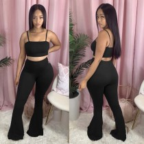 Casual Sexy Sling Wrap Chest Flared Pants Two Piece Set AWN-5104