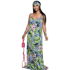 Floral Print Maxi Slip Dress With Headscarf NK-8567
