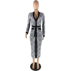 Plaid Print Deep V Split Long Sleeve Maxi Dress YIS-913