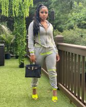 Casual Sporty Hooded Zipper Two Piece Pants Set LSL-6373