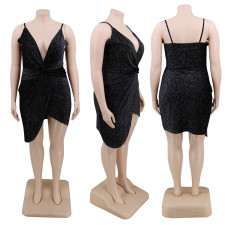 Plus Size 4XL Sexy Elegant Suspender V Neck Irregular Nightclub Dress CYA-1226