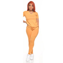 Casual Solid Color Simple Home V Neck T shirt Pants Suit CYA-8636