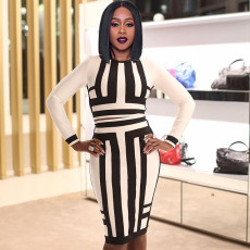 Trendy Striped Long Sleeve Two Piece Skirt Set JCF-7002