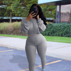 Casual Sports Ribbed Long Sleeve Top and Pants Two Piece Set NIK-174