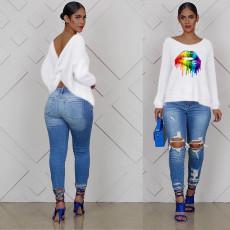 Plus Size Lips Print Backless Long Sleeve T Shirt OM-1087