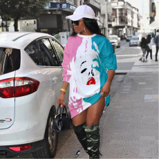 Plus Size Casual Loose Printed Sweatshirt Dress DAI-8269