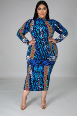 Plus Size Printed Long Sleeve Slim Midi Dress BMF-020