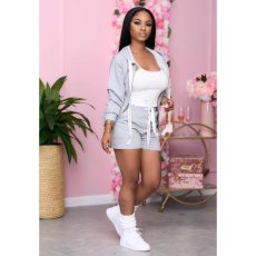 Solid Zipper Hoodies Shorts Two Piece Suits XMY-9259