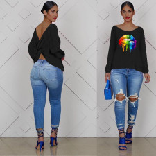Plus Size Lips Print Backless Long Sleeve T Shirt OM-1087