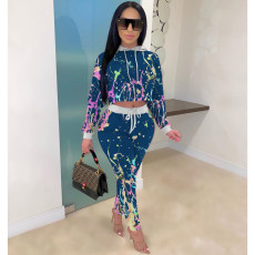 Casual Tie Dye Print Hooded Long Sleeves 2 Piece Sets ZSD-0315