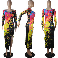 Sexy Printed Long Sleeves Split Long Dress MIL-158