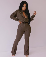 Solid Zipper Long Sleeve Boot Cut Pants 2 Piece Set MIL-163