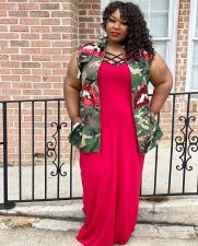 Plus Size Camo Sequied Lips Vest Coat QY-5166