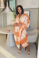 Plus Size Tie Dye Batwing Sleeves Long Dress YM-9238