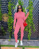 Solid Long Sleeves Skinny One Piece Jumpsuits WSM-5192